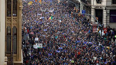 Manifestación multitudinaria en Barcelona en apoyo a los refugiados