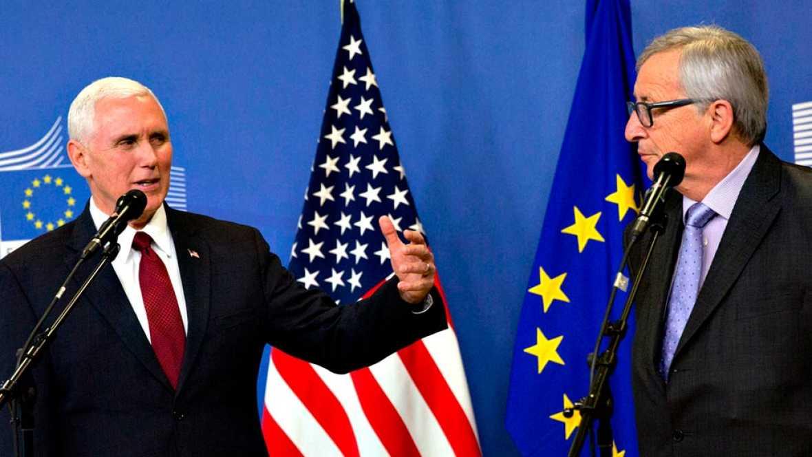 """El vicepresidente de EE.UU. subraya el """"fuerte compromiso"""" de Trump con la UE en su primera visita a Bruselas"""