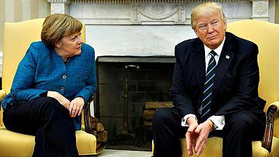 El momento incómodo de Merkel y Trump