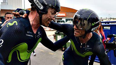 El Movistar se ha llevado hoy la contrarreloj por equipos correspondiente a la segunda etapa de la Volta Ciclista a Catalunya con un tiempo de 48 minutos y 55 segundos, lo que ha colocado al corredor español Alejandro Valverde como líder de la prueba