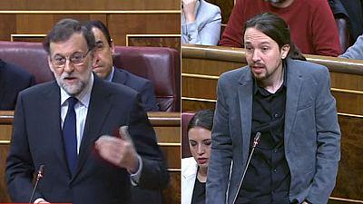 """Iglesias acusa a Rajoy de abusar de los vetos porque """"se la bufa"""" el informe de los letrados y Rajoy pide respeto"""