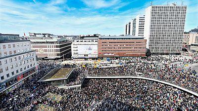 Silencio sobrecogedor en la plaza más emblemática de Estocolmo