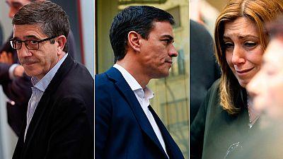 Los tres aspirantes a la Secretaría General del PSOE despiden en Ferraz a Carme Chacón
