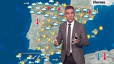 La Agencia Estatal de Meteorología (Aemet) prevé para este viernes 14 de abril nubosidad, nubes bajas en el noroeste de Galicia y área cantábrica, y en el resto del país nubes medias y altas, con algunos chubascos y tormentas en el interior peninsula