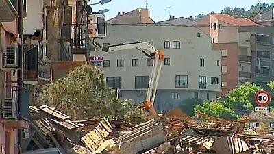 El deslizamiento de una ladera se lleva por delante tres viviendas en Alcañiz, Teruel