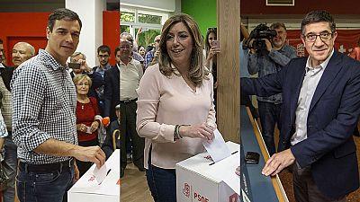 Los candidatos votan convencidos de que la recuperación del PSOE comenzará este lunes