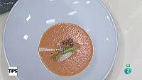 Tips - Cocina - Salmorejo con tallarines de espárrago blanco y verde