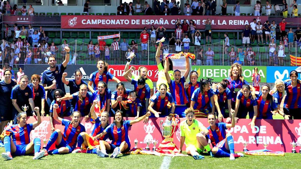 El FC Barcelona rubricó la quinta conquista copera de su historia al vencer, por 4-1, al Atlético de Madrid en la final de la Copa de la Reina disputada en la Ciudad del Fútbol de Las Rozas.