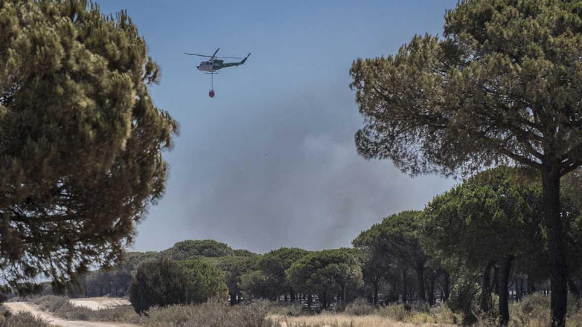 Los bomberos trabajan en el perímetro del incendio de Moguer y esperan darlo por estabilizado este martes