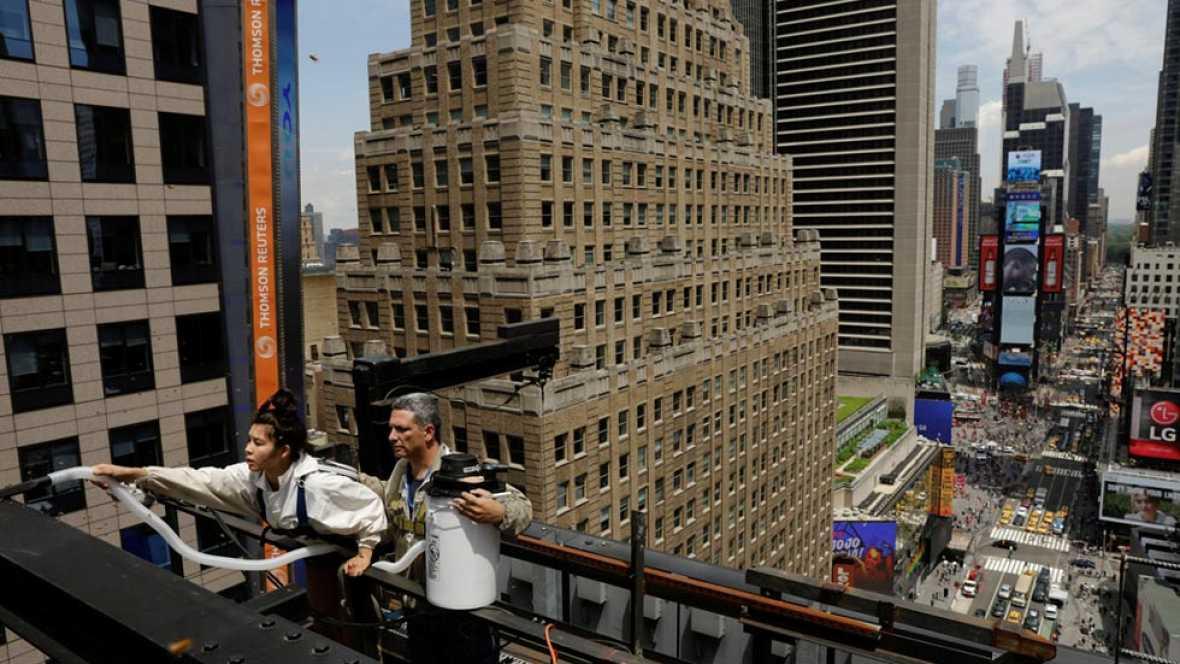 Una enorme colmena con cerca de 30.000 abejas ha aparecido en una azotea de Times Square, en pleno corazón de Manhattan.