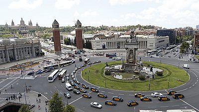 Nueva jornada de huelga en el sector del taxi en Madrid y Barcelona