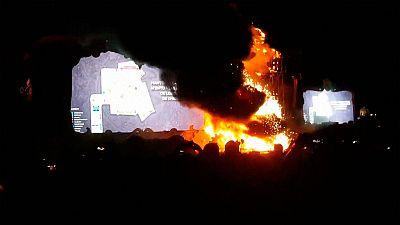 Espectacular incendio en el festival de música electrónica Tomorrowland en Barcelona