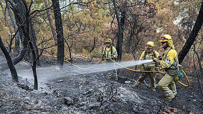 El fuego de Yeste sigue sin control y trabajan en su extinción más de 300 personas