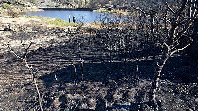 Los equipos de extinción refrescan los puntos calientes del incendio de Yeste