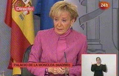 """La vicepresidenta del Gobierno, María Teresa Fernández de la Vega, califica de """"escaramuza miope irresponsable"""" la estrategia del PP contra el ministro Bermejo."""