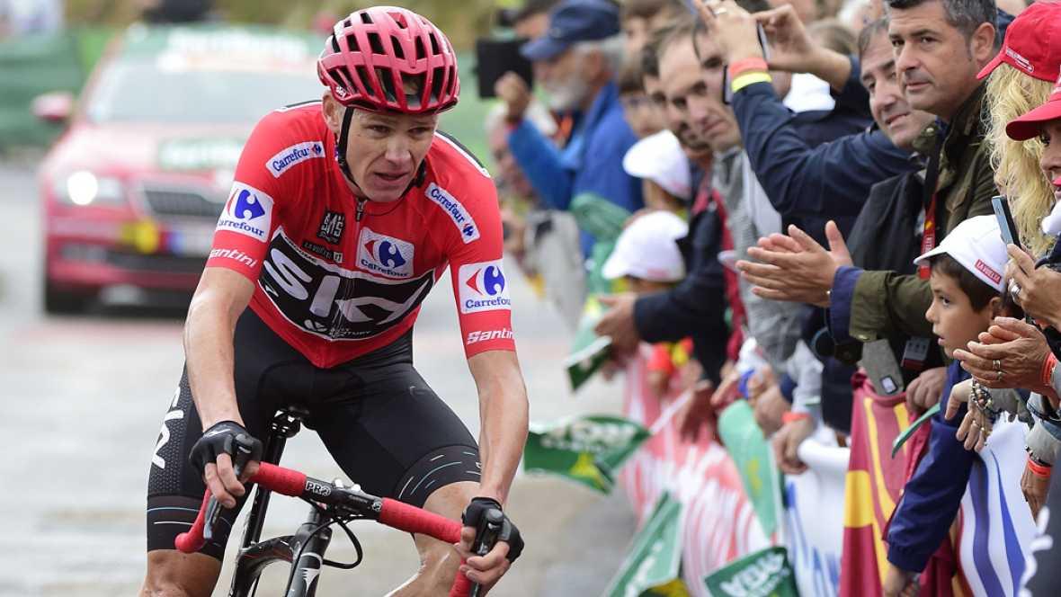 """El líder de la Vuelta, Chris Froome, ha asegurado en la meta de Los Machucos que se siente """"bien"""" y confiado en mantener el liderato """"los tres días que quedan"""" de la ronda española."""