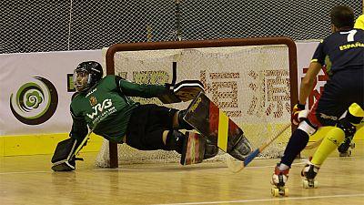 La selección española masculina de hockey sobre patines, al derrotar en la tanda de penaltis a la de Portugal, tras haber terminado el tiempo reglamentario con empate (3-3), se ha alzado con el oro en los primeros Juegos Mundiales (World Roller Games