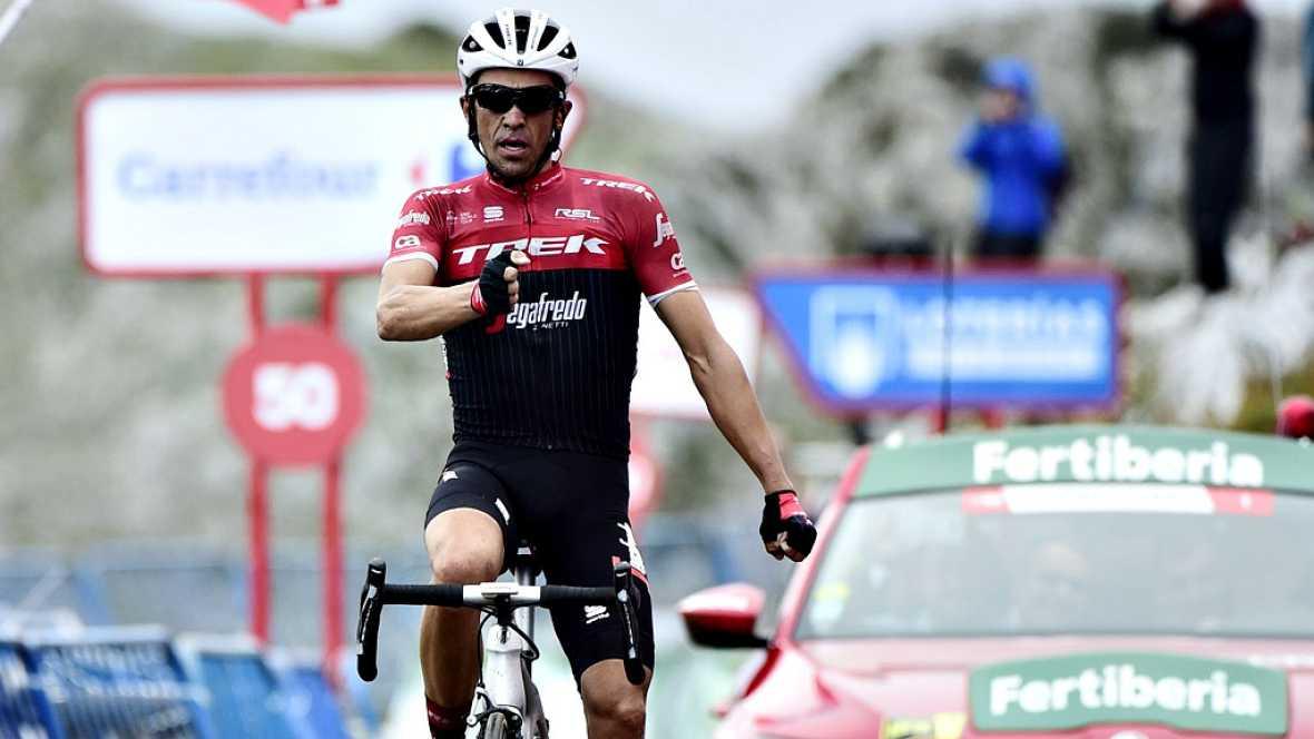 El español Alberto Contador (Trek) se ha impuesto en la vigésima etapa de la Vuelta disputada entre Corvera de Asturias y el Alto de L'Angliru, con un recorrido de 117,5 kilómetros, en la que el británico Chris Froome (Sky) se proclamó virtual venced