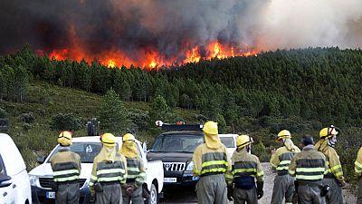 Controlado el incendio forestal en Santa María de Ordás (León)