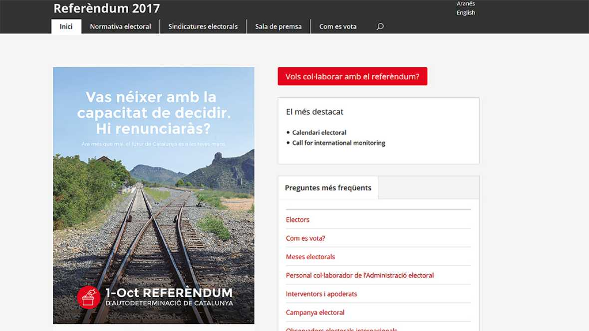 La web del referéndum se desactiva por orden judicial y Puigdemont la reabre en otra dirección