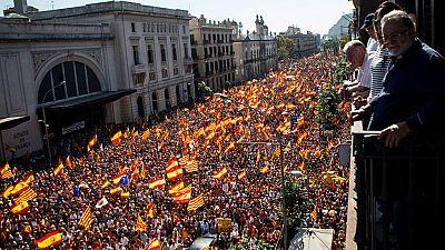Multitudinaria manifestación en el corazón de Barcelona