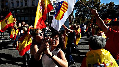 """Los participantes en la marcha de Barcelona reivindican la convivencia: """"Nosotros también somos catalanes y españoles"""""""