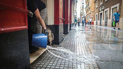 Una tromba de agua provoca numerosas incidencias en la provincia de Cádiz
