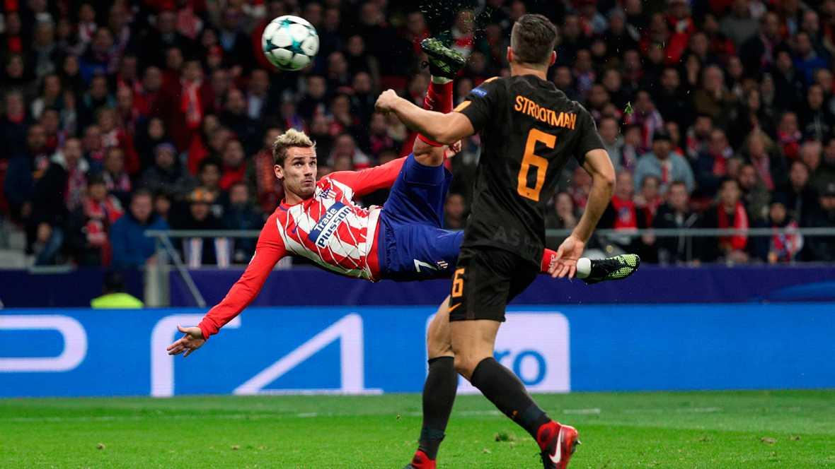 Griezmann al frente del ataque y Koke en las ayudas, claves del Atlético 2-0 Roma