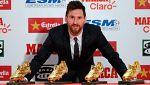 Messi recibe su cuarta Bota de Oro en Barcelona