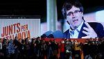 Los independentistas arrancan la campaña electoral con Puigdemont en 'streaming'  desde Bruselas y Junqueras en prisión