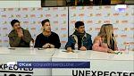 Operación Triunfo - Alfred, Raoul, Cepeda y Nerea a su llegada a la firma de discos en Barcelona