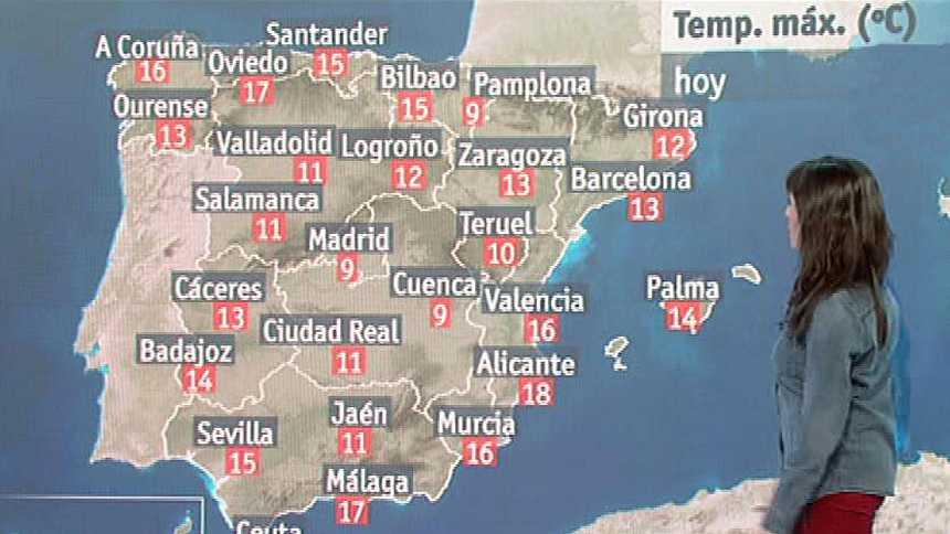 Jornada tranquila, con ascenso térmico y lluvias débiles en el norte y Canarias