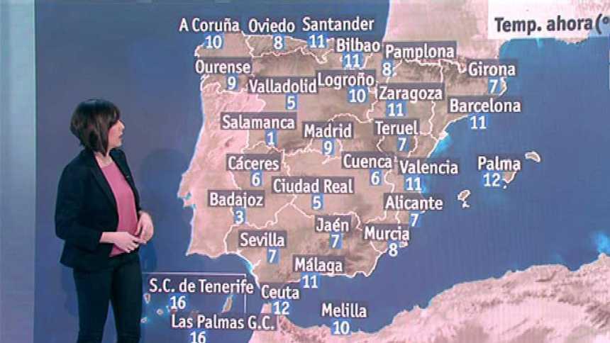 Precipitaciones localmente persistentes en el Cantábrico y en el resto, cielos pocos nubosos