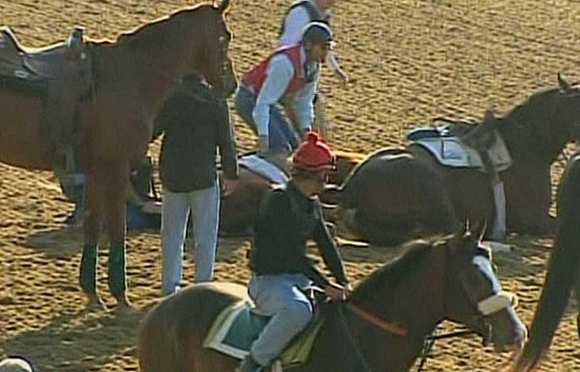 En los preparativos de hípica para el derbi de Kentucky, un caballo sin jinete ha colisionado con otro en el que si estaba el montador.