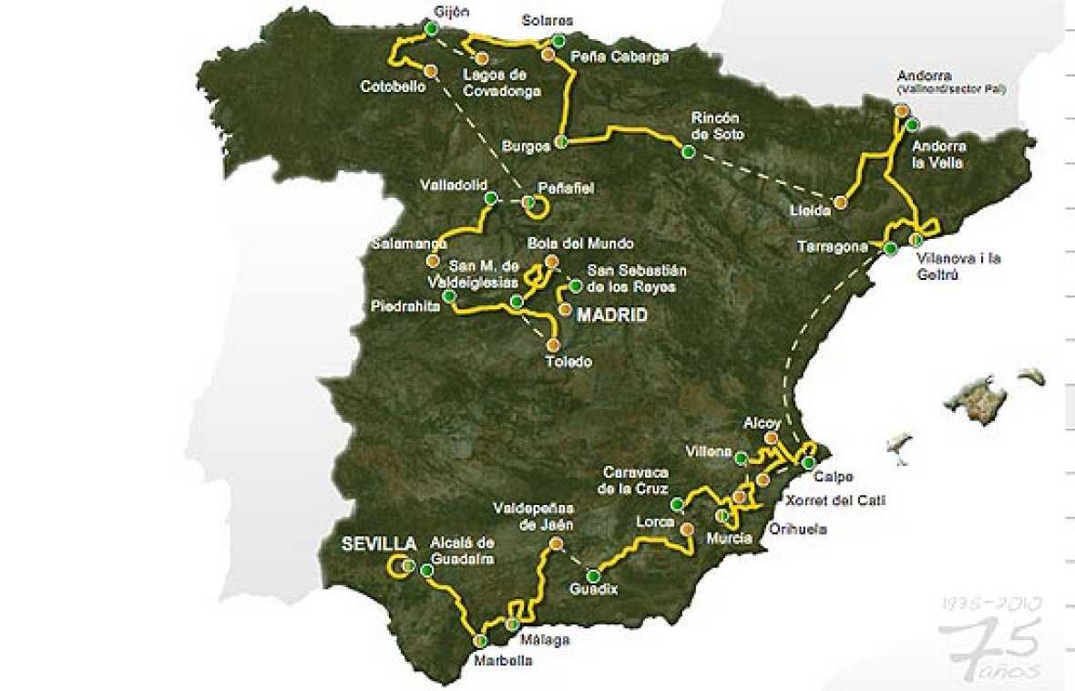 Presentación de recorrido de las etapas que tendrán lugar en la próxima edición de la Vuelta ciclista a España 2010. La prólogo nocturna de Sevilla, la vuelta a los Lagos de Covadonga o los finales inéditos de Cotobello y La Bola del Mundo, serán las