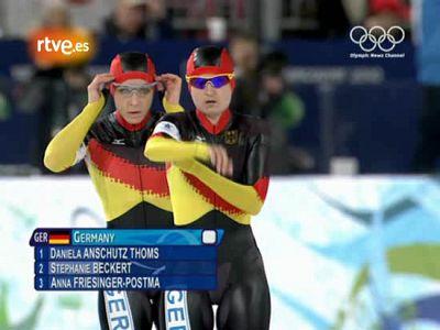 El equipo alemán femenino de patinaje de velocidad se hizo con la medalla de oro en persecución gracias a una clasificación milagrosa. Una de las relevistas, en la semifinal ante EEUU entro a la meta tirándose sobre el hielo.