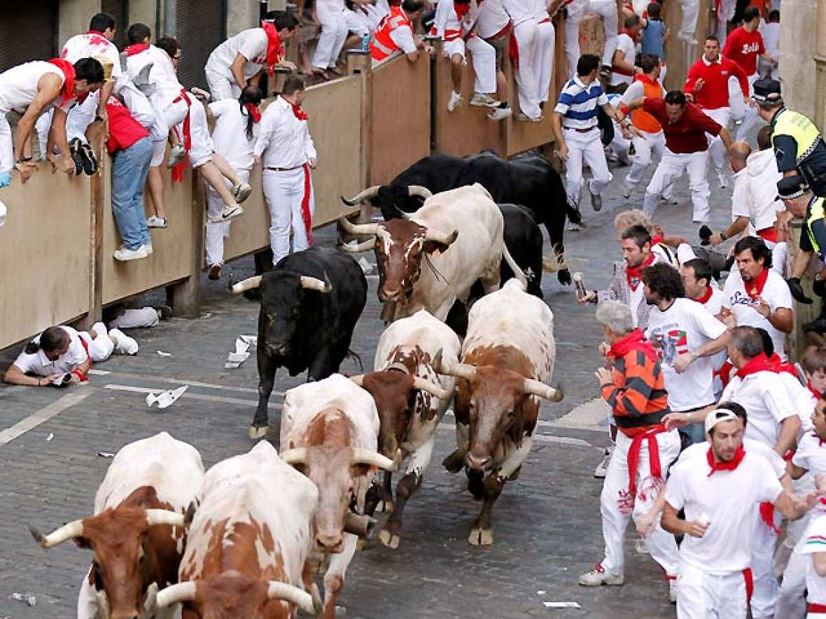 Multitudinario cuarto encierro de los Sanfermines 2010, protagonizado por toros de la ganadería sevillana Dolores Aguirre