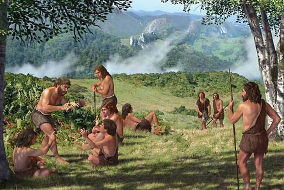 Recreación de un campamento de verano neandertal