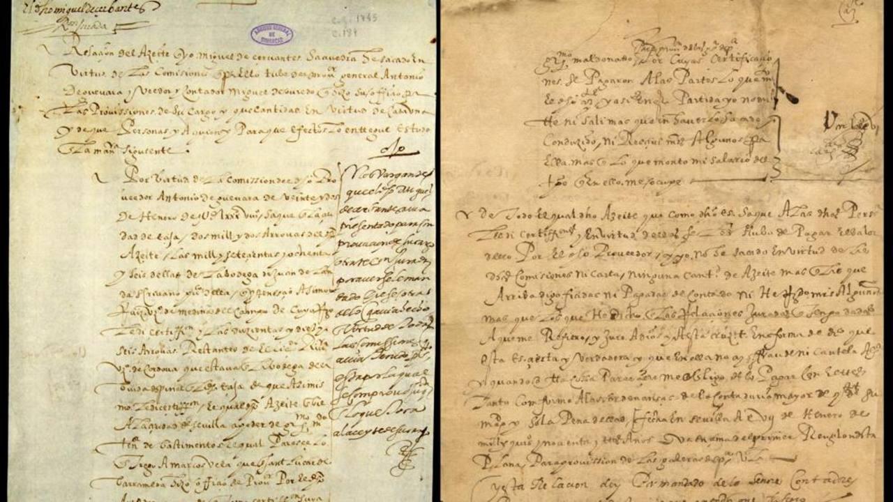 Documento autógrafo de Cervantes de Filadelfia (derecha), y su otra mitad que está en el Archivo de Simancas. EFE
